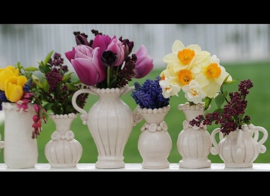 spring flowers in small vases